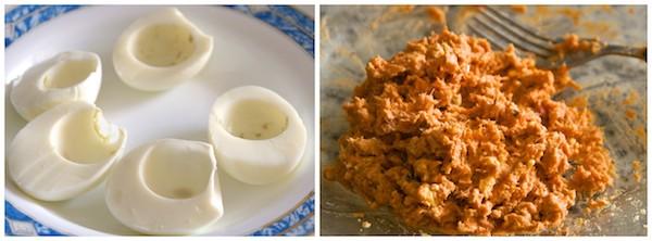 Preparar la receta de huevos rellenos de atún y tomate