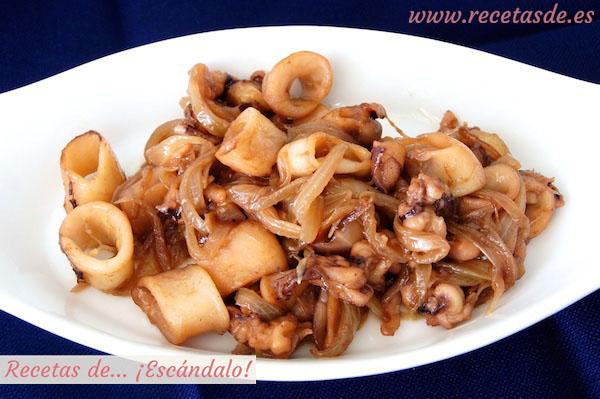 Receta de calamares encebollados