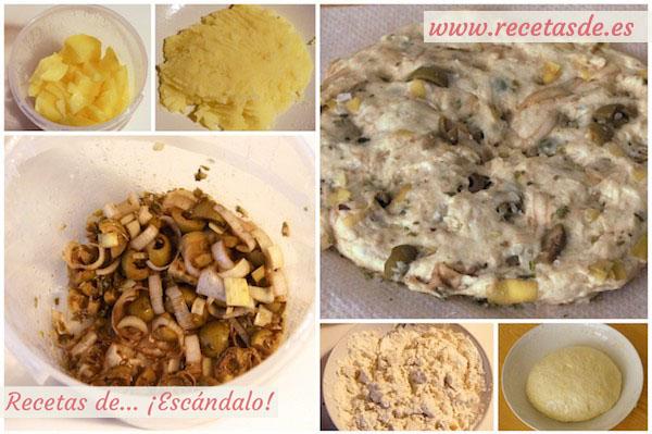 Receta de focaccia italiana rellena de olivas y puerro