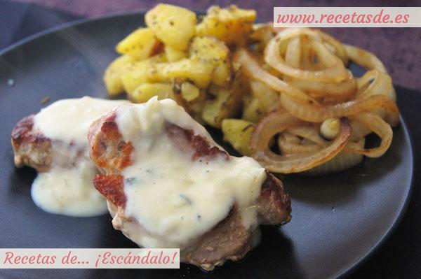 Solomillo de cerdo con salsa roquefort
