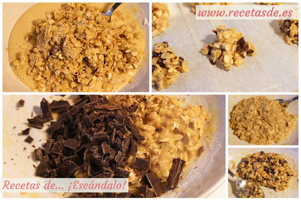 Preparar galletas caseras de avena y chocolate