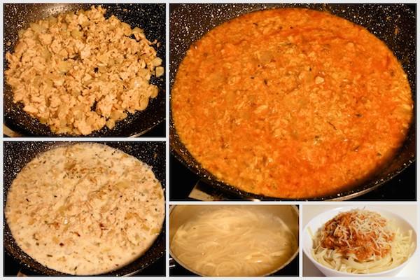 Receta de espaguetis de estudiante, atún, tomate y queso