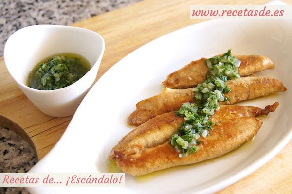 Huevas de pescado aliñadas con salsa verde
