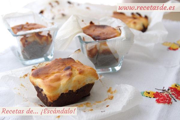 Receta de brownie de chocolate y tarta de queso con nueces