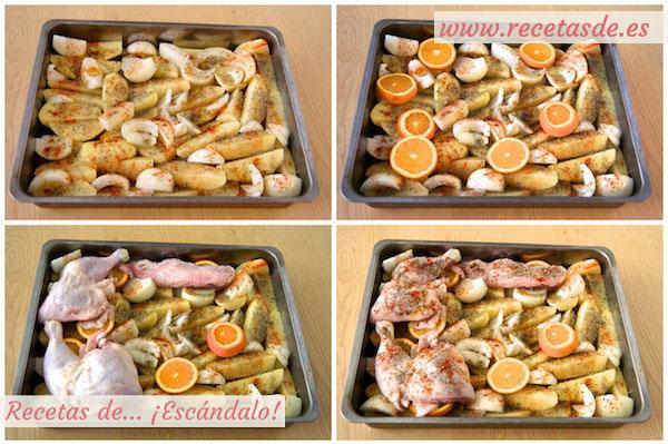 Receta de contramuslos de pollo a la naranja asados en el horno con patatas