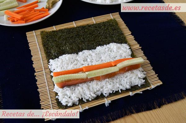 Zanahoria en el maki sushi