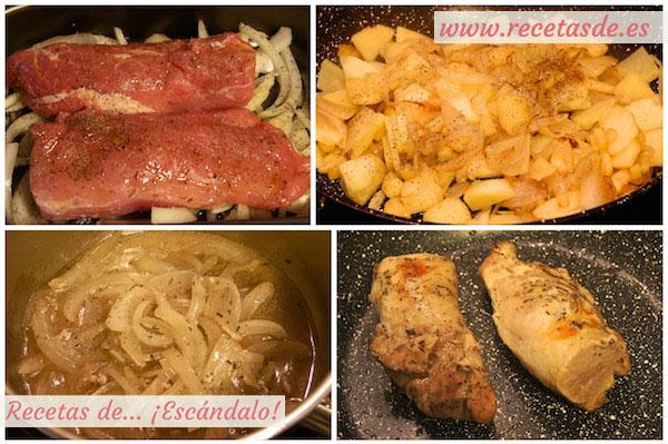 Receta de solomillo de cerdo al horno en salsa con manzana caramelizada