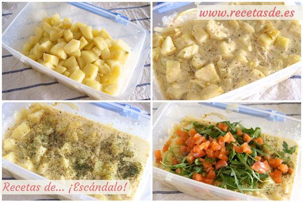 Cómo hacer ensalada alemana de patatas cocidas y salmón ahumado con salsa mayonesa tártara