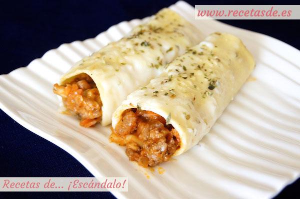 Receta de canelones de carne picada y pasta fresca con bechamel
