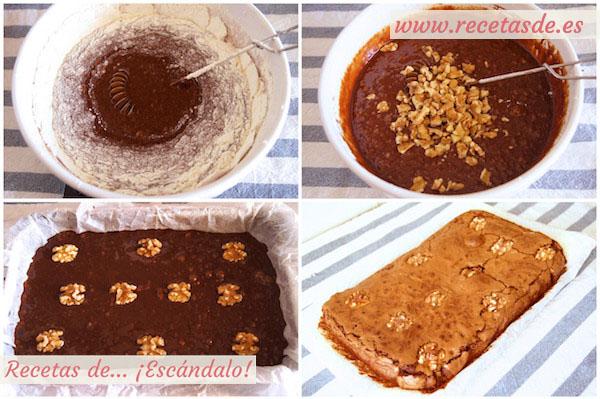 Cómo hacer brownie de chocolate con nueces