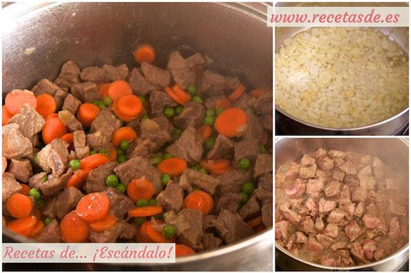 Cómo hacer estofado de ternera guisada en salsa a la jardinera con patatas