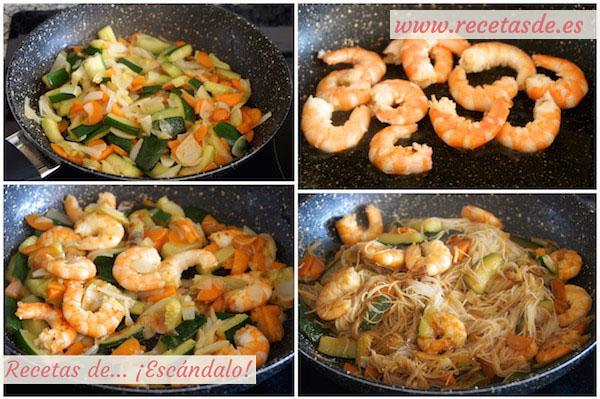 Fideos de arroz chinos con gambas y verduras - Recetas de Escándalo
