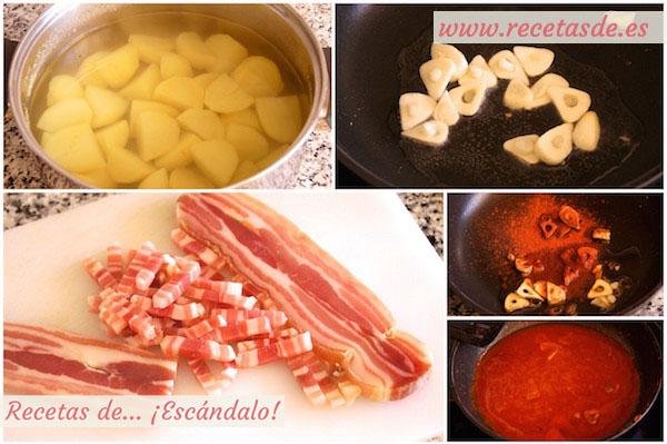 Preparando patatas revolconas, meneas, machaconas o revueltas