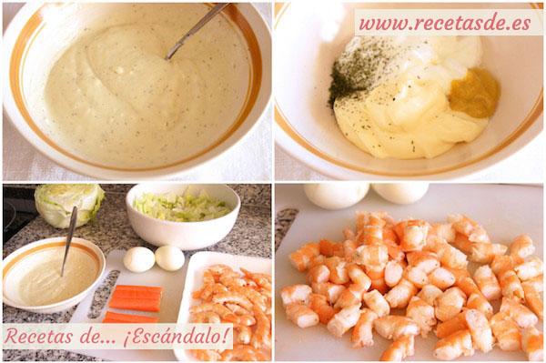Cómo preparar ensaladilla de marisco con gambas y mayonesa ligera