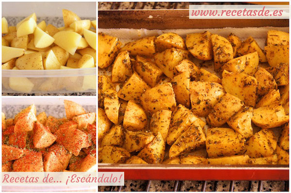 Preparando patatas deluxe o patatas gajo asadas al horno