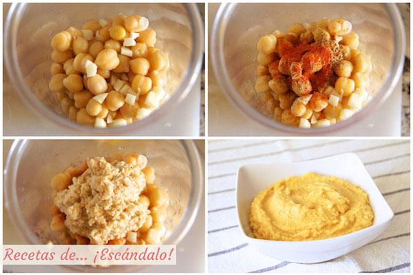 Como hacer hummus o crema de pure de garbanzos