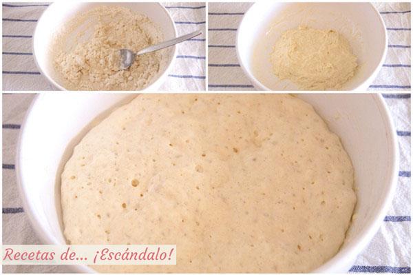 Elaborando prefermento para preparar pan de molde casero