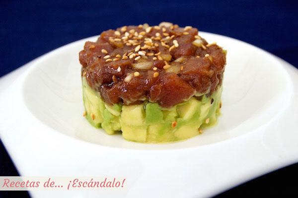 Tartar de atun rojo y aguacate, una receta exquisita