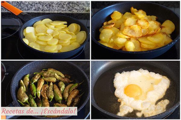 Como preparar huevos rotos o huevos estrellados con patatas y jamon