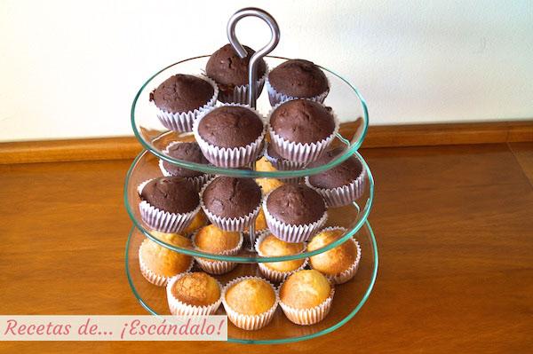 Magdalenas caseras tradicionales y de chocolate