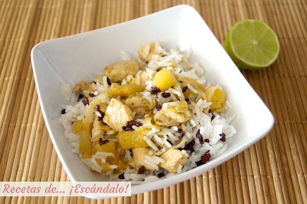 Receta de ensalada de arroz y pollo al lemongrass con mango
