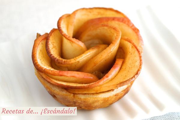 Deliciosa rosa de manzana y hojaldre