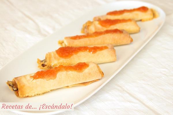 Receta de crujiente de queso brie y pasta filo con dulce de membrillo casero