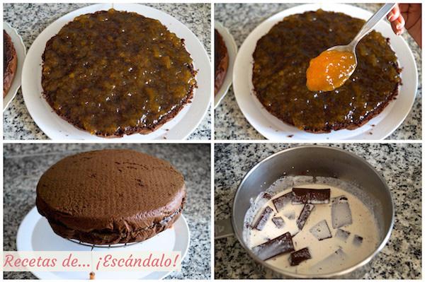 Relleno de mermelada del bizcocho y glaseado de chocolate
