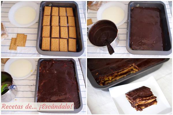 Como hacer tarta de la abuela, tarta de chocolate, galletas y natillas