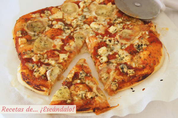 Receta de pizza 4 quesos con masa de pizza casera
