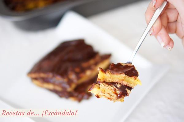 Receta de tarta de la abuela, tarta de chocolate, galletas y natillas