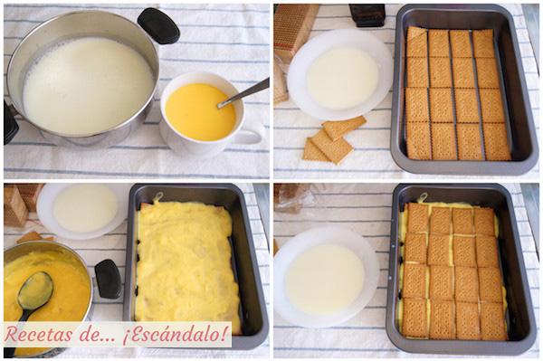 Tarta de la abuela, tarta de chocolate, galletas y natillas