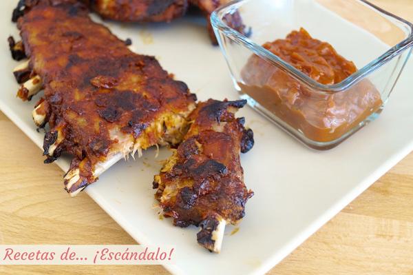 Costillas de cerdo al horno con salsa barbacoa casera