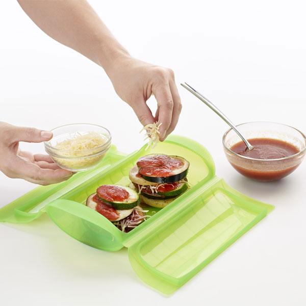 Estuche para cocinar al vapor 1 2 personas verde l ku - Recipientes de silicona para cocinar al vapor ...