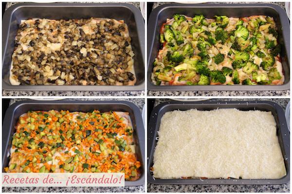 Montaje lasana de verduras