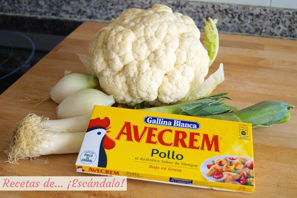 Ingredientes crema de coliflor
