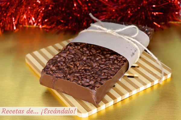 Receta de turron de chocolate casero y crujiente muy facil