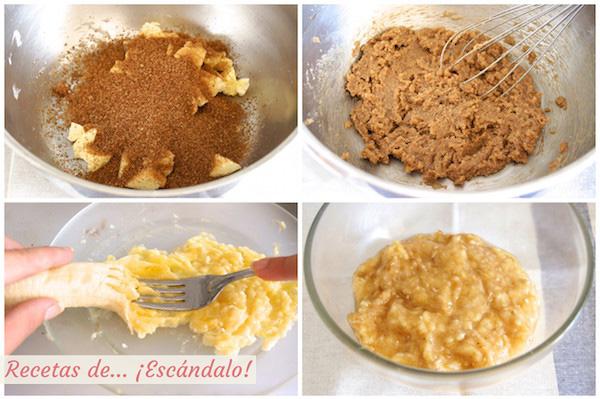 Platano, mantequilla y azucar para el bizcocho de chocolate