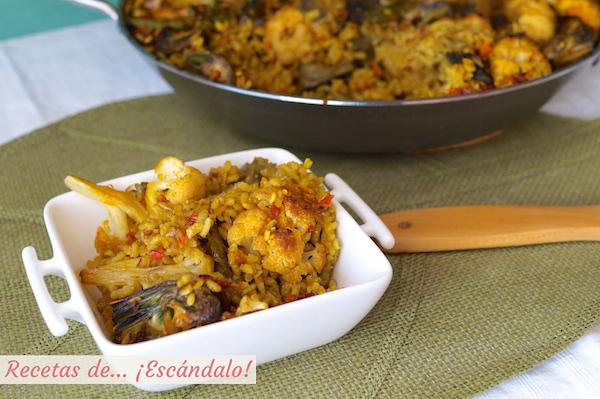 Arroz con verduras o paella de verduras