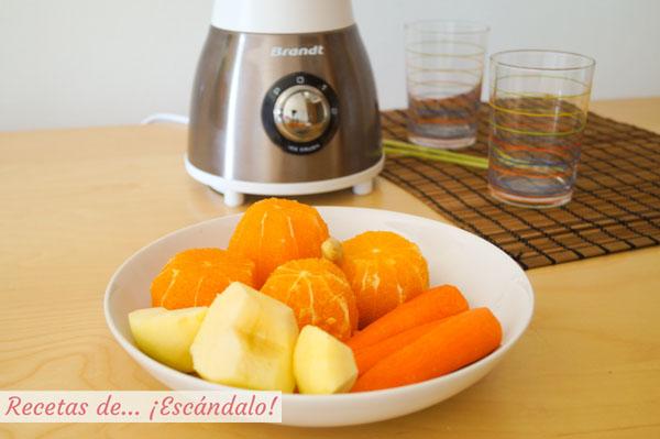 Ingredientes para el smoothie de zanahoria, naranja y jengibre