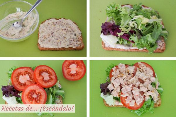 Montaje del sandwich vegetal con atun