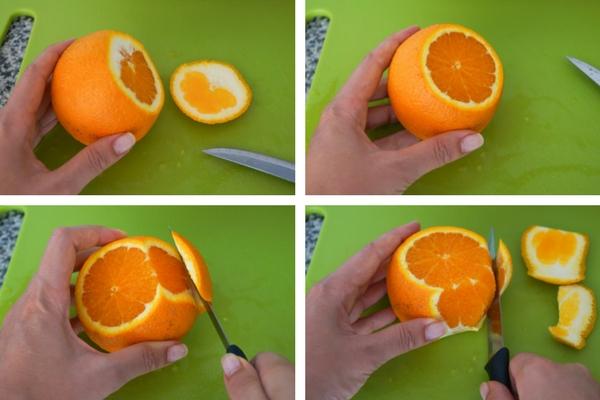 Pelar naranja a piel