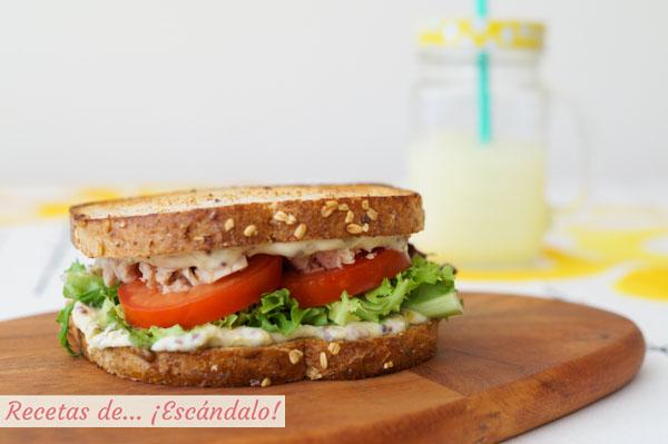 Receta de sandwich vegetal con atun y mayonesa a mi manera