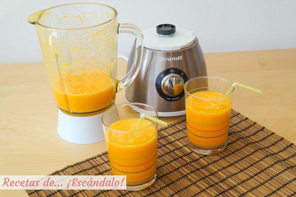 Receta de smoothie de zanahoria, naranja y jengibre, un batido de frutas saludable