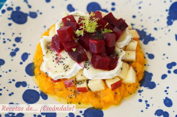 Ensalada de remolacha con pure de zanahoria y queso de cabra