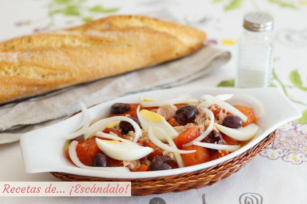Receta de ensalada murciana de tomate, tambien llamada moje o mojete