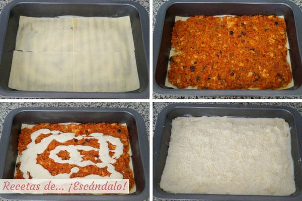 Como montar lasana de atun y verduras