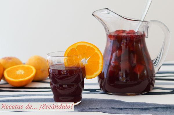 Receta de sangria casera, aprende como hacerla. Receta con vino tinto y frutas