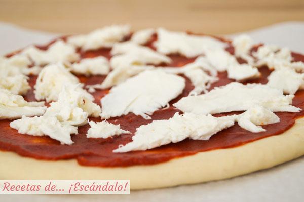 Pizza margarita con mozzarella fresca