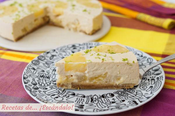 Receta facil de tarta de pina y yogur fria sin horno